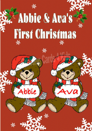 Personalised Girl Teddy Twins First Christmas Card